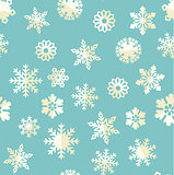 Vector seamless pattern with abstract snowflakes.