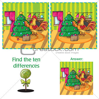 Cartoon Vector Illustration of Finding Differences for Preschool Children