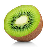 half of ripe kiwi fruit isolated on white