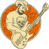 Cowboy Playing Bass Guitar Circle Drawing