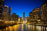 Skyline of Chicago along the river