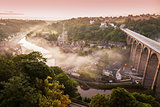 Panorama of Dinan in the morning