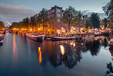 Night city view of Amsterdam canals