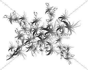 Black flower pattern on white background. EPS10 illustration.
