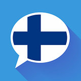 White speech bubble with Finland flag on blue background. Finnish language conceptual illustration
