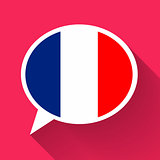 White speech bubble with France flag on pink background. French language conceptual illustration