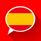 White speech bubble with Spain flag on red background. Spanish language conceptual illustration