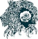 Floral design representing a lion