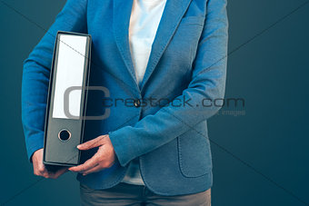Business company accountant holding document binder
