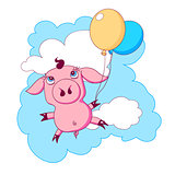 Little piggy with balloons flying in the sky