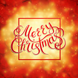 Merry Christmas lettering on a background. Vector illustration.