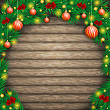 Christmas background of boards in an arch  fir branches