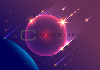 Abstract space background falling meteorites and planet