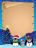 Stylized Christmas penguins parchment 1