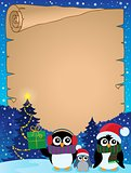 Stylized Christmas penguins parchment 2
