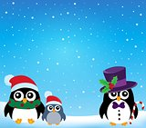 Stylized Christmas penguins theme 1