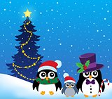 Stylized Christmas penguins theme 2