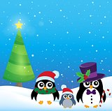 Stylized Christmas penguins theme 3