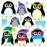 Stylized winter penguins set 1