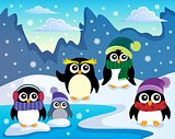 Stylized winter penguins theme 1