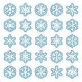 Set of different winter snowflakes
