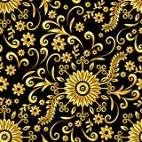 Golden Floral Seamless Background
