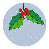 Traditional hand drawn christmas berry decoration greeting card. Holiday vector christmas berry decoration.