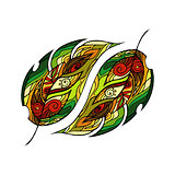 Vector Colored Forest leaves Background. Hand Drawn Ornament with Forest leaves.