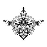 Vector hand drawn ornate flower pattern in zentangle style.