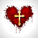 Christian cross in the heart