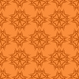 Orange Ornamental Seamless Line Pattern