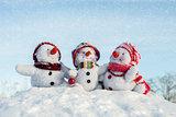 Happy snowman family