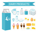 Dairy products icon set, flat style. Milk  isolated on white background. Vector illustration