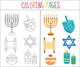 Coloring book page. Hanukkah set. Sketch and color version.  for kids. Vector illustration