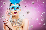 disco woman wearing silver accessories on purple backgound