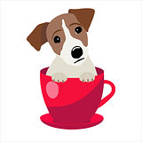 Jack Russell Terrier in red teacup, illustration, set for baby fashion