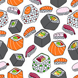 seamless pattern of sushi theme