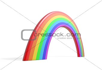 Abstract colorful rainbow isolated on white background 3d illustration