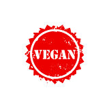 VEGAN stamp sign text red.