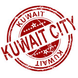 Red Kuwait city stamp