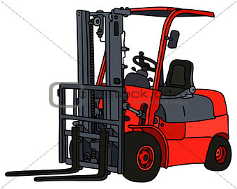Red small forklifts