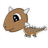 Cute Cartoon  Baby Ankylosaurus Dinosaur
