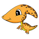 Cute Cartoon  Baby Parasaurolophus Dinosaur