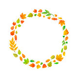 Cute leaves arranged in ring shape isolated on white