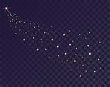 Gold stars glittering trail of Santas sleigh. Tail of comet on transparent background in dark sky