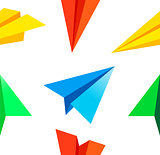 Paper airplane pattern . Vector illustration