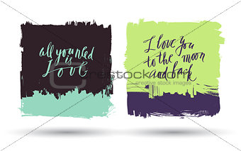 Grunge brush banners with lettering