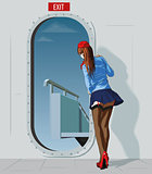 stewardess at the door