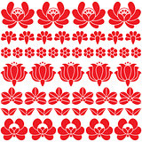 Seamless Hungarian red folk art pattern - floral Kalocsai embroidery