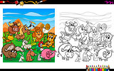 cartoon animals coloring page